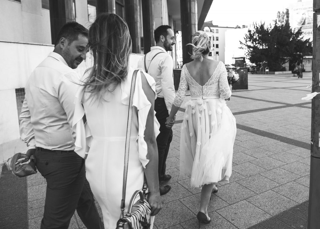 Bride and Groom walking in Novi Sad