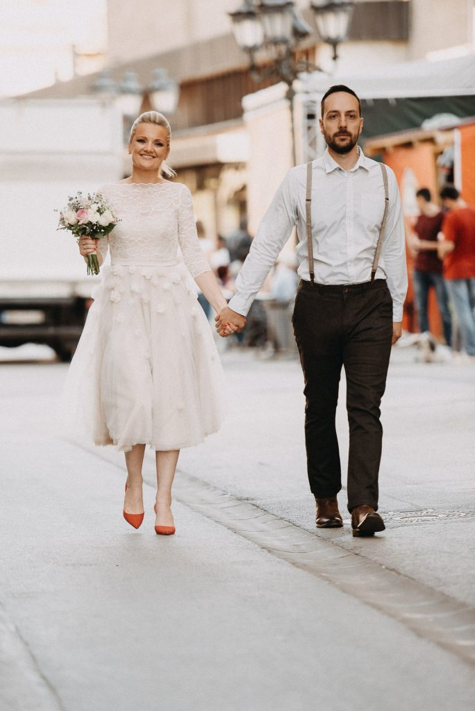 Bride and groom in Novi Sad town center