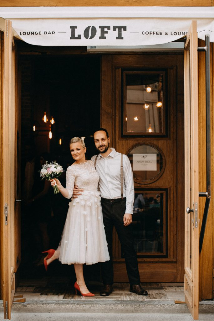 Bride and Groom in front of Loft Lounge and Bar Novi Sad