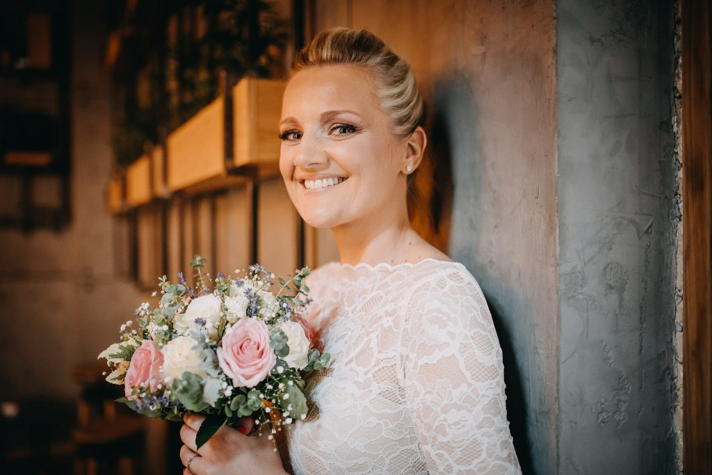 Bride smiling in Loft Lounge and Bar Novi Sad