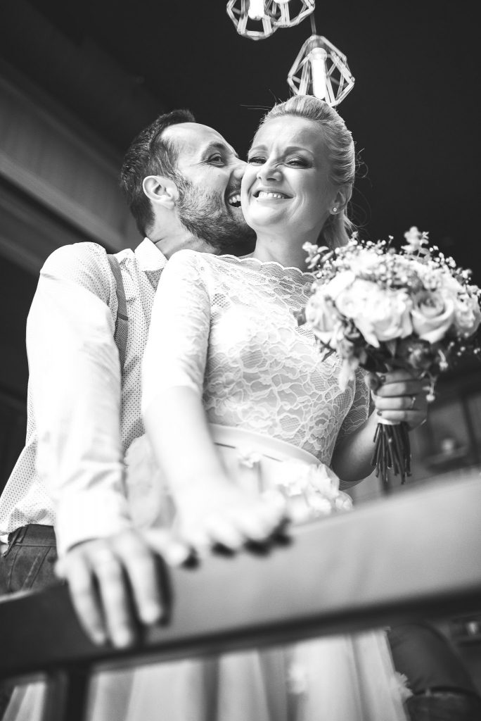 Wedding couple posing in loft lounge and bar novi sad